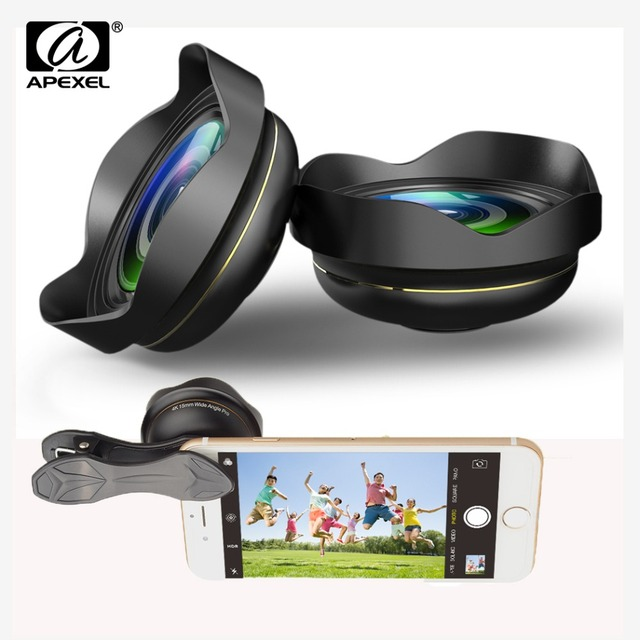 APEXEL Optic HD 15mm Phone lens 0.5X 4k Wide angle Lens Camera lens Professional Mobile Lens for iPhone Xiaomi redmi Samsung