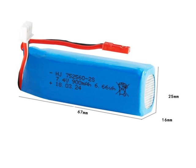 Ewellsold <font><b>7.4V</b></font> <font><b>900mAh</b></font> 25c Lithium <font><b>battery</b></font> for XK520 <font><b>RC</b></font> Airplane 2pcs/lot image