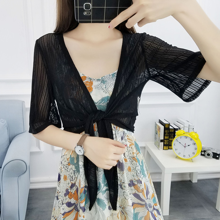 Hollow Out Summer Women V-Neck Knitted Casual Short Sleeve Cardigans Sweaters Lady Knitting Shrugs Open Stitch Shawl Outwear