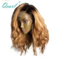 Плотность 150% Ombre блондинка Синтетические волосы на кружеве парики предварительно сорвал естественно волосяного покрова тела человека волн
