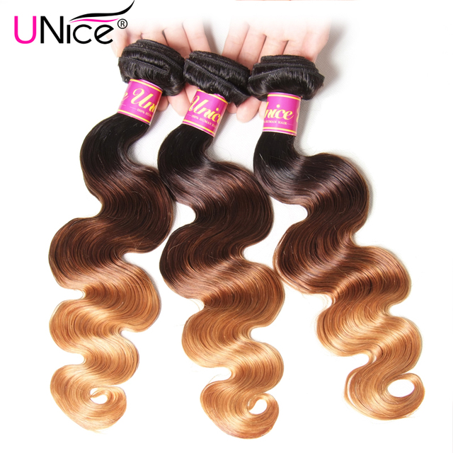 UNICE HAIR Ombre Hair Bundles Brazilian Body Wave 3 Bundles 100% Human Hair Weaves Remy Hair Extension 16-26inch Free Shipping
