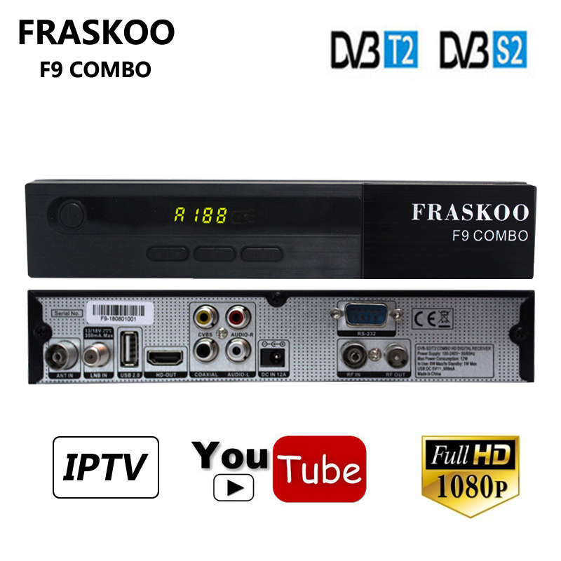 цена Fraskoo F9 DVB-T2 DVB-S2 Combo Satellite Receiver+1 Year Cccam Support AVS USB WiFi Youtube PowerVu Biss Key IPTV Box Receptor