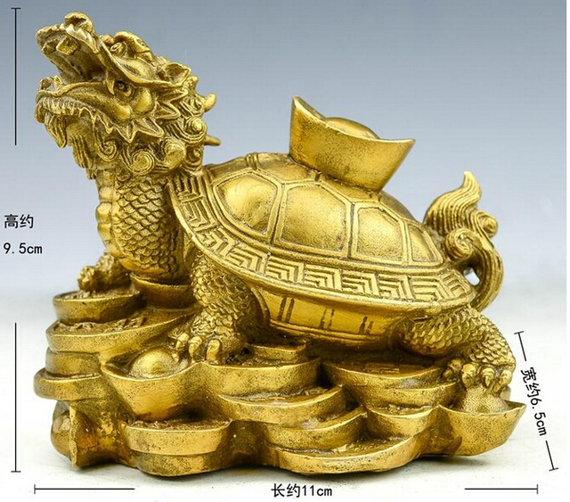 US $29 11 48% OFF SCY 426+++Copper gold dragon turtle Ruyi lucky turtle  defends the leading town house is not anti villain feng shui ornaments-in