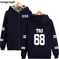 Kpop EXO Print Winter Thicken Warm Hoodies Women/Men Fleece EXO Fans Hoodie Sweatshirt Women Harajuku Oversize Jacket Coat 4XL