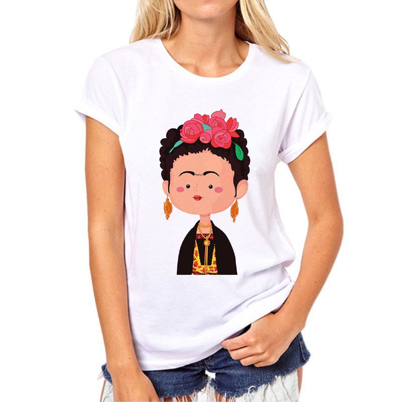 3d Sketch Frida Kahlo Women Short Sleeve Casual Slim T Shirt Printed Lady Fashion Tee Shirts