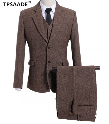 Brown Tweed Men Suit Formal Stylish 3Pieces Jacket Pant Vest Tie Custom Made Slim Fit Groom