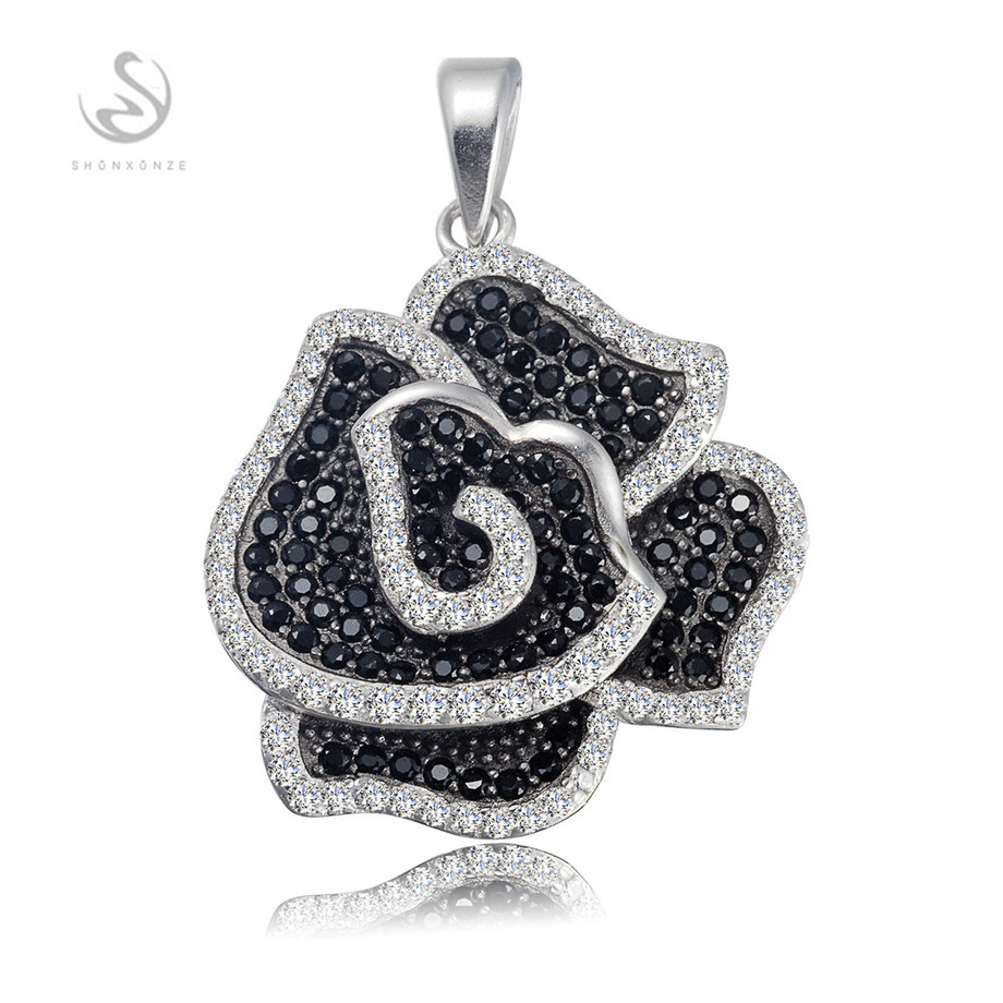 Eulonvan The new product Favourite 925 sterling silver jewelry Best Sellers White and Black Cubic Zirconia Pendants S--3791GYO
