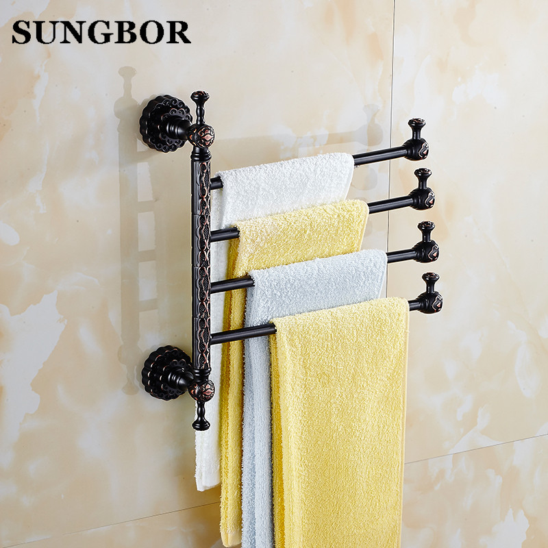 Twin Flowers Series Carving Black Brass Foldable Movable Towel Bar Wall Mounted Bathroom Accessories Towel Rack 3-6 FA-80814 twin flowers series carving black brass wall mounted bathroom accessories double towel bar towel rack towel shelf with hooks