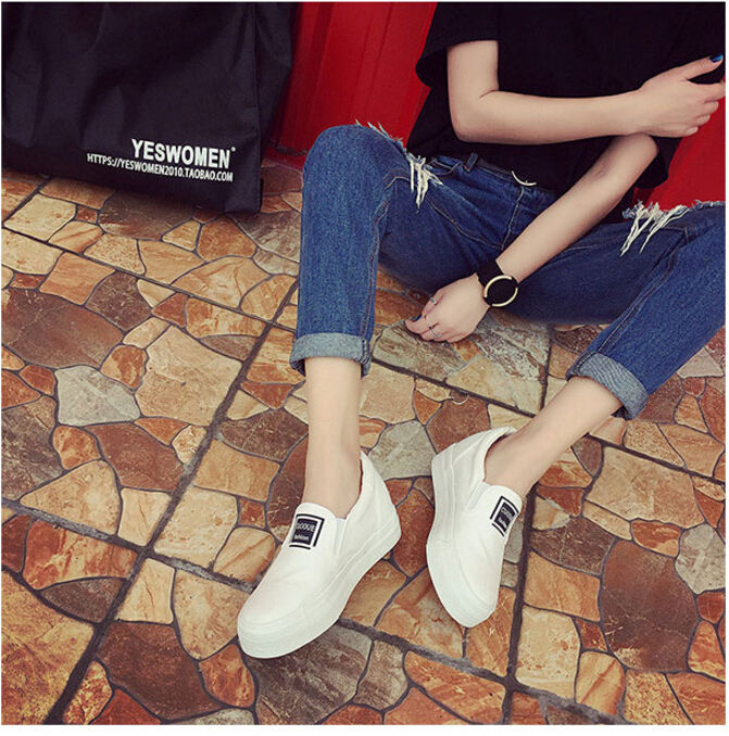 Free Shipping Spring and Autumn Men Canvas Shoes High Quality Fashion Casual Shoes Low Top Brand Single Shoes Thick Sole 7583 -  -  (3) -