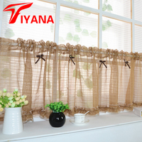 Pink Coffee Color Short Curtain Tulle Semi Shade Kitchen Cabinet Curtain For Living Room Kitchen Door