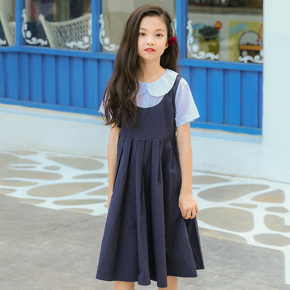 2018 New Children's Clothing Short-sleeved Denim Dresses In Primary and Secondary Students Long Section Free Courier CC723 causes of child abuse among secondary school students in pakistan