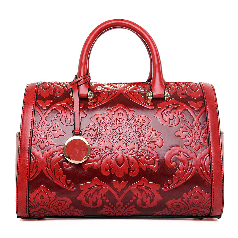 Retro Chinese Style Women Business Handbag Embossed Shoulder Bag Female Barrel-Shaped Purse Flower Totes Bag Floral Handbag