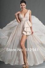 Sexy V-neck Hi-Lo Evening Dresses 2014 Open Back Sheath Column Chiffon Sweep Train Beads Ruffle yk-8A36