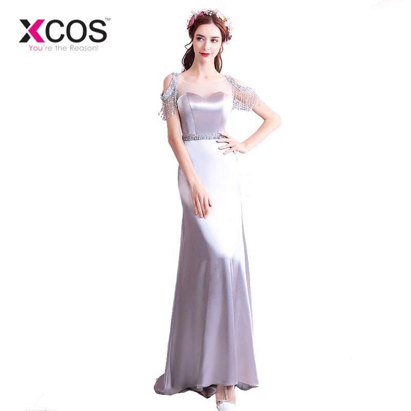 XCOS Satin robe de soirée sirène 2018 nouveauté perles gris robes de bal longue robe de soirée acheter directement de la chine