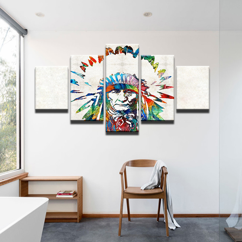 5 Panels Popular Lndian Native American Canvas Prints
