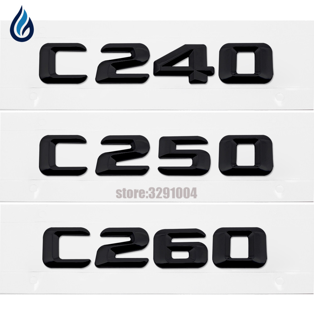 Car Rear Trunk Emblem Lettering Badge Sticker C240 C250 C260 For Mercedes Benz C Class W201 W202 W203 W204 Auto Accessories car rear trunk security shield cargo cover for mercedes benz ml class w164 ml300 ml350 ml500 2006 2012 high qualit accessories