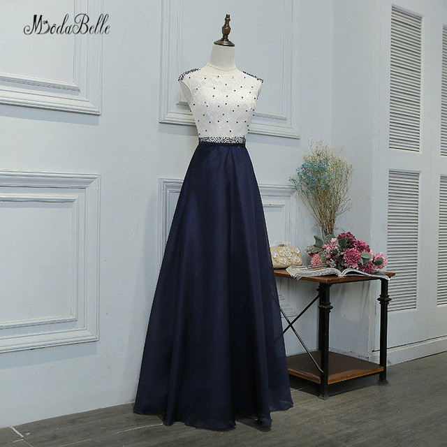 modabelle Navy Blue Long Evening Dress With Pearl Robe De Soiree 2018 Solde  Lace Top Formal Dress Women Party Evening Dresses 99b0efbad16c