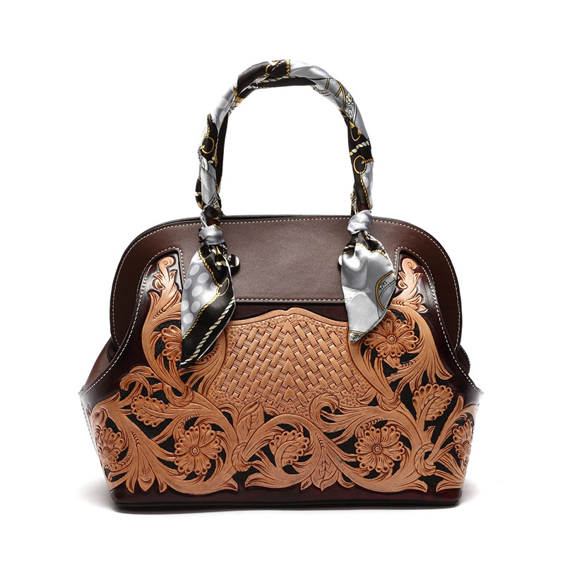 Women handmade vintage flower Bag 100% Genuine Leather Women Handbag Hot Selling Tote Women Bag Luxury Bags