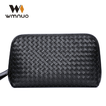 купить Wmnuo Men Handbag Genuine Cow Leather Men Wallet 2018 New Fashion Hand Knitting High Quality Men Leisure Clutch Business Bags по цене 1946.88 рублей
