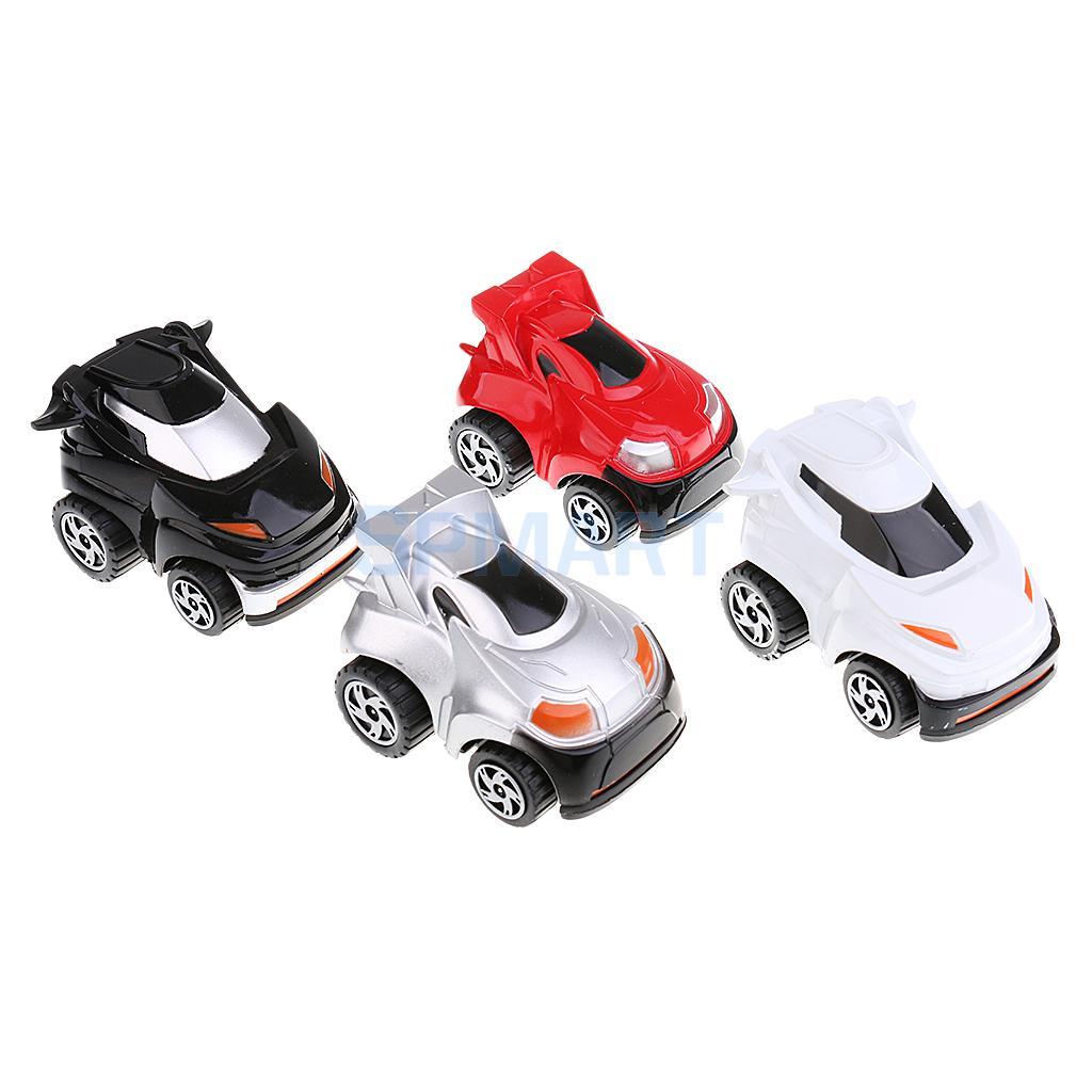 4PCS Pull Back Cars Mini Vehicles 360 Degree Rotating Play Fun Toy for Kids