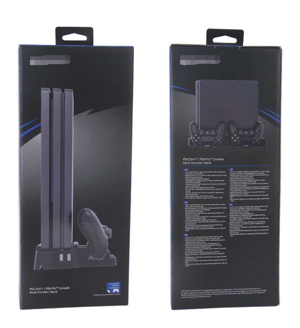 Vertical Stand with 2 Fans Dual Controller USB Charging Station for PS4 SLIM/PRO