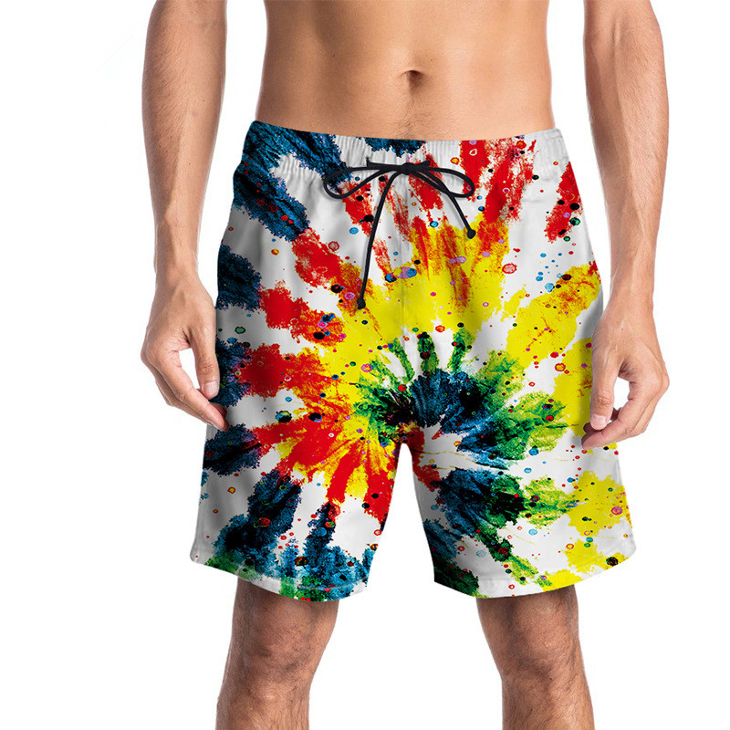 USA SIZE Mens   Board     Shorts   Cartoon Flower 3d Printed Quick Dry Vacation   Shorts   Fashion Brand Summer fifth pants Clothing New