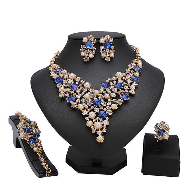 1fe4a5ba0 Blue stone Imitation Crystal African Beads Jewelry Sets For Women Wedding  Dress Accessories Bridal Set Earrings Necklace Rings