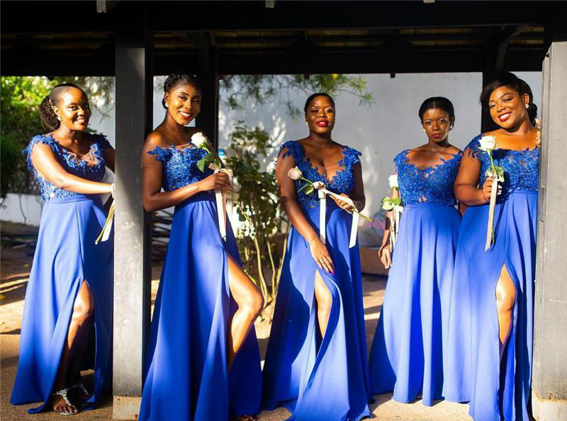South African Summer Chiffon Lace Bridesmaids Dresses A Line Cap Sleeve Split Long Maid of Honor Gowns Plus Size Custom Made BM0615  79 (9)
