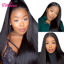 Yolissa Brazilian Lace Front Human Hair Wigs 13x4 Straight Lace Front Wig With Baby Hair Pre Plucked Remy Lace Wig Natural Black(China)