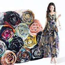Tissu en mousseline de soie imprimé Floral Georgette 75D, 1 mètre x 150CM, doux, pour robe/vêtements, couture de chemise