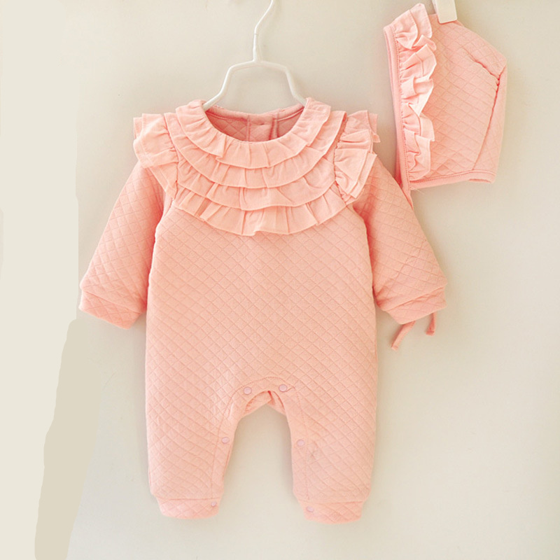Newborn Romper Cotton Solid Girls Infant Jumpsuits Long Sleeve Winter Clothes +Hat Baby Costumes Baby Rompers Infant Clothes cotton baby rompers set newborn clothes baby clothing boys girls cartoon jumpsuits long sleeve overalls coveralls autumn winter