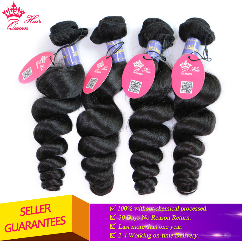 Queen Hair Products Malaysian Loose Wave Hair Bundle Natural Color 1B 1pc 10 to 28 100