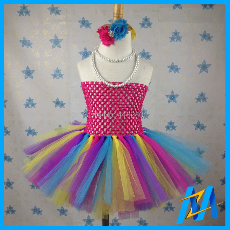 High Quality Baby Rainbow Tutu Dress Fashion Girls Party Dress Kids