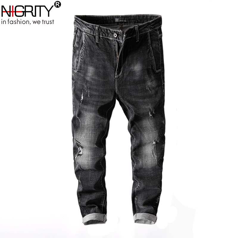 NIGRITY Mens Jeans New 2018 Hot Summer Jean Slim Homme Classic Black Ripped Jeans Big Si ...