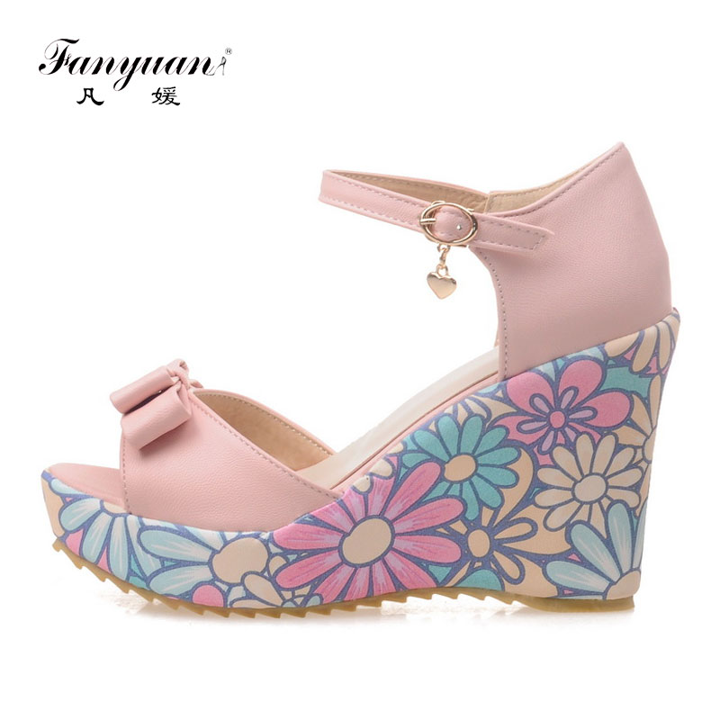 Fanyuan summer high Heels Wedge Sandals women sweet Butterfly-knot Print heel Ankle strap shoes girls Party Platform sandals super high ladies sweet sexy summer butterfly crystal high heels sandals women platform ankle strap shoes purple wedding shoes