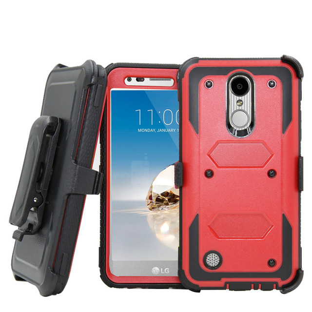 lg harmony case. heavy duty shockproof hybrid armor case belt clip holster cover for lg k10 2017 m250m/ lg harmony r