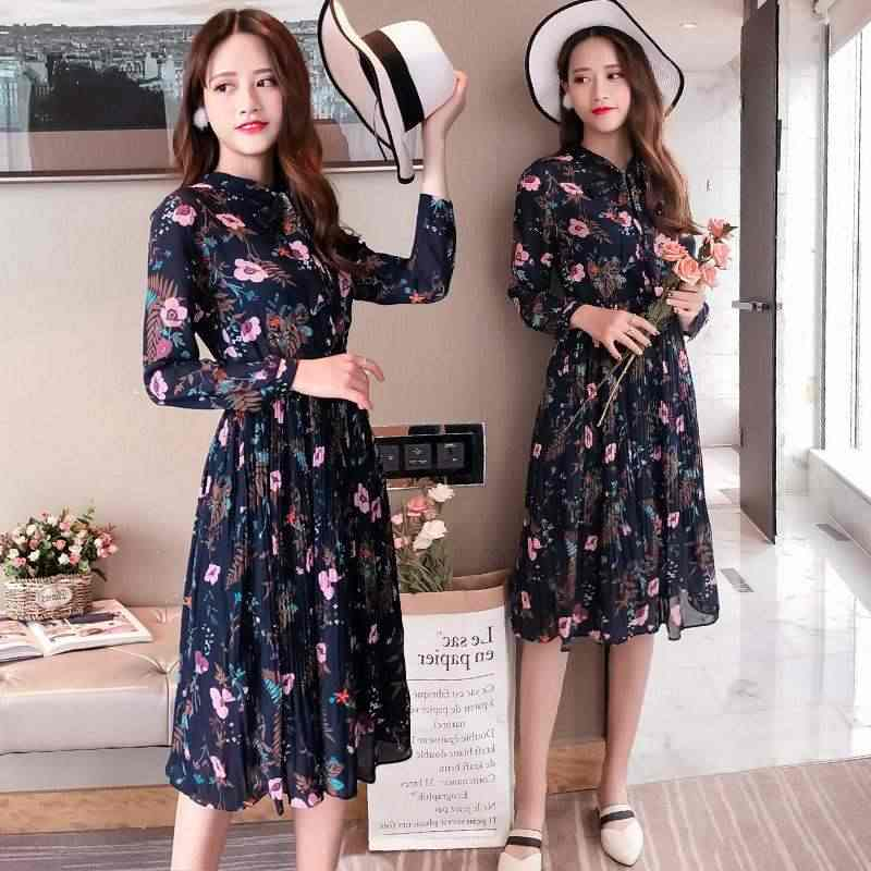 Women Two layer chiffon pleated dress 2019 spring  Summer autumn  print elegant long sleeve loose casual  dress