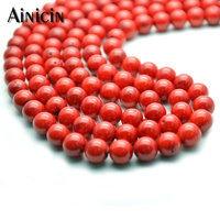 High Quality 8mm Red Coral Strand Round Beads 15'' DIY Bracelet Jewelry Making Findings 5 Strands/lot