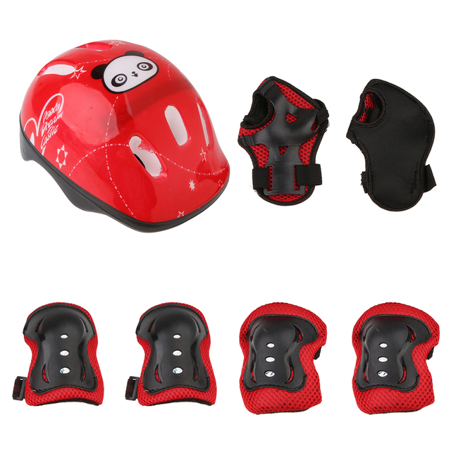 Adjustable 7 Pcs Kid Roller Skating Bicycle Helmet Knee Wrist Guard Elbow Pad Set for Child Cycling Sports Protective Guard Gear 2
