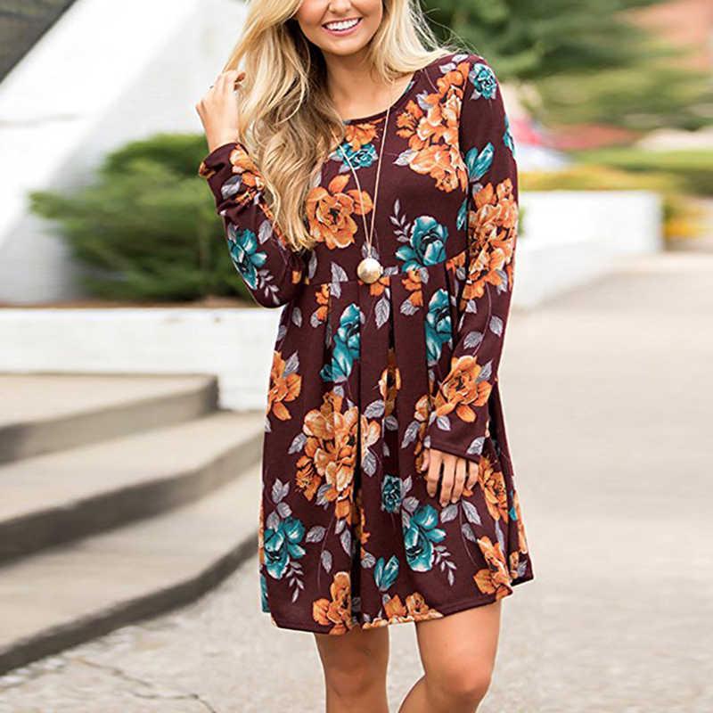 c9887050901cf new Prairie Chic Fashion Autumn Women's Floral ruched Mini Dress ladies  Casual Long Sleeve pleated Short Dress Plus size 4XL