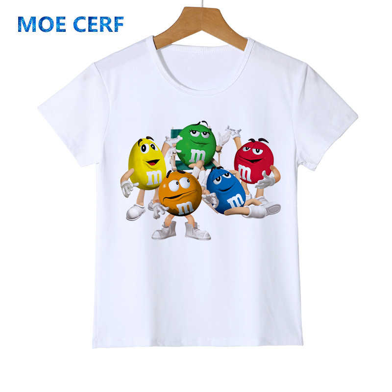 Fashion kid t-shirt 3D Boy/Girl chocolate beans MM print funny streetwear t shirt Anime Short Sleeve Baby Shirts Z47-4