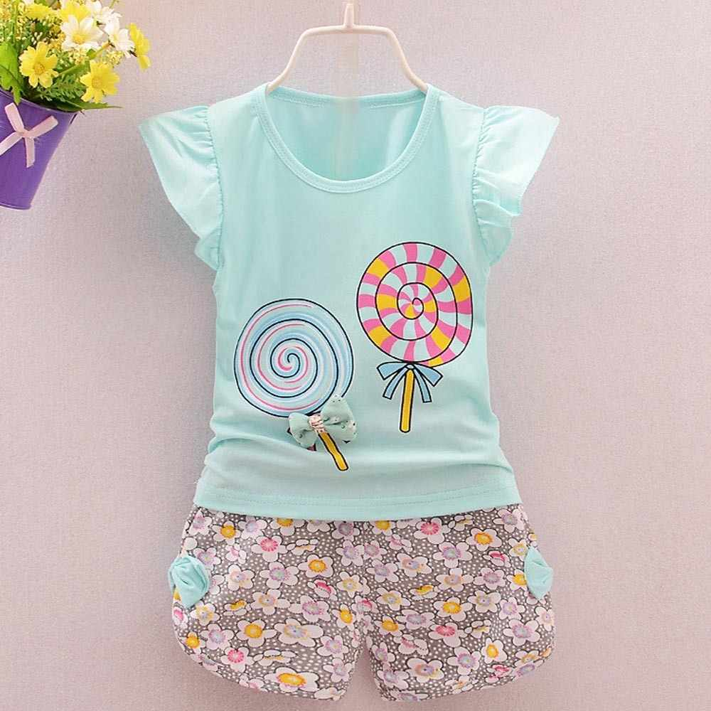 Toddler Kids Baby Girls Outfits Lolly T-shirt Tops Floral Baby Gentleman Outfits Suit Short Sleeve  Bow Tie Shirt