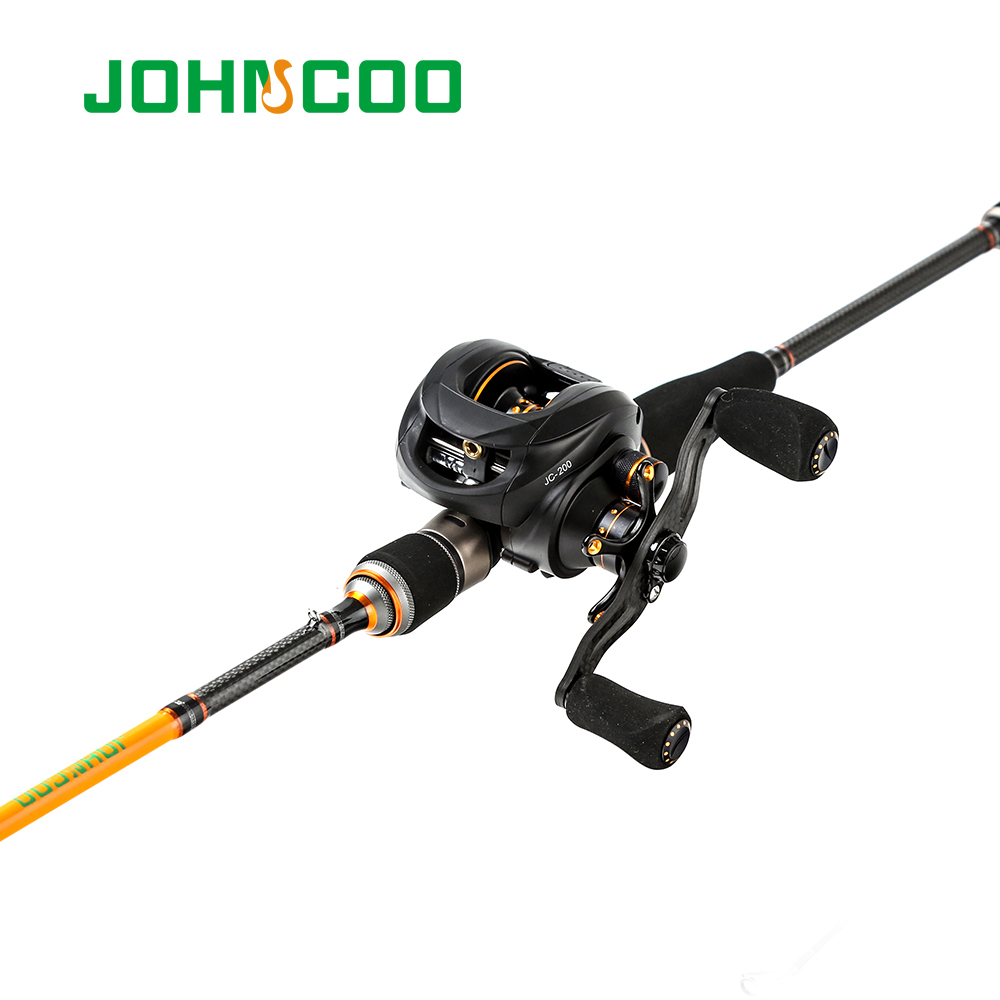 2.1m Fishing rod Combo with baitcasting Reel Test 7-21g Carbon Casting rod + Carbon reel 6.3:1 165g high Quality Fishing rod set
