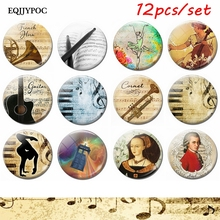 Musical Instrument Set Fridge Magnet Glass Dome Cello Drum Stick Guitar Note Mozart Magnetic Refrigerator Stickers Artists Gift