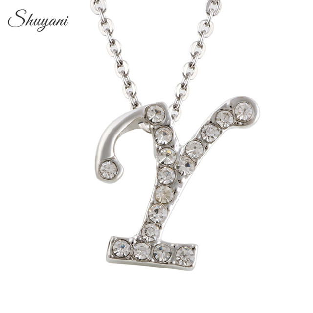 Shuyani fashion letter y customized necklace women jewelry white shuyani fashion letter y customized necklace women jewelry white rhinestone alphabet initial necklace pendant jewery aloadofball Gallery