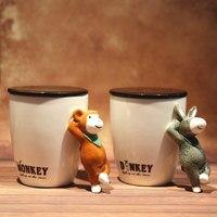 Śliczne Ceramiczne Rano Kubek z Pokrywką Kreatywny Zwierząt Uchwyt Piękne Kubki do Kawy Herbaty Mleka Unikalny Prezent 440 ml SH237