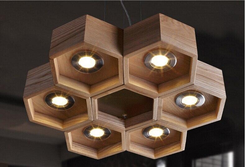 handmade wooden home decor wooden honeycomb modern creative handmade wood led hanging pendant Wooden Honeycomb Modern Creative Handmade Wood LED Hanging Pendant Lamp  Lighting Light fixture home decoration