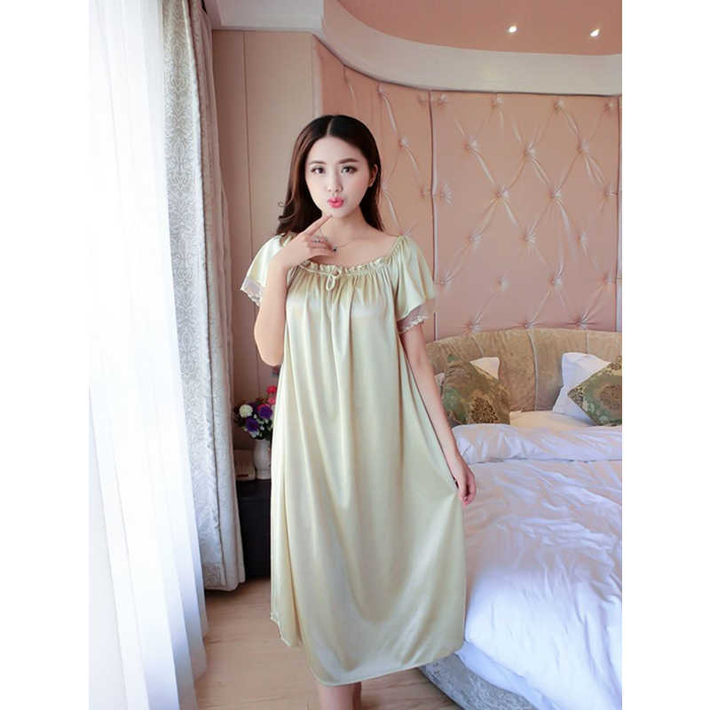 2018 Hot Sale Plus Size New Sexy Silk Nightgowns Women Casual Chemise  Nightie Nightwear Lingerie Nightdress a3a9a157d302