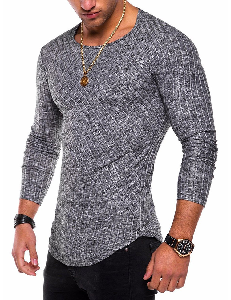 Casual Men's O-Neck Slim Fit Bodybuilding Men T-shirt Fashion Knittwear Pullover Long Sleeve Man Tshirts Dropshipping