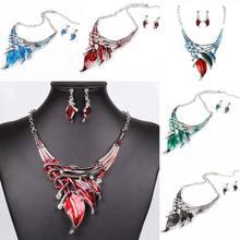 Винтаж Эмаль Себе Ожерелье + Серьги для Женщин Большой Кристалл Ювелирные Наборы Листья 88 KQS